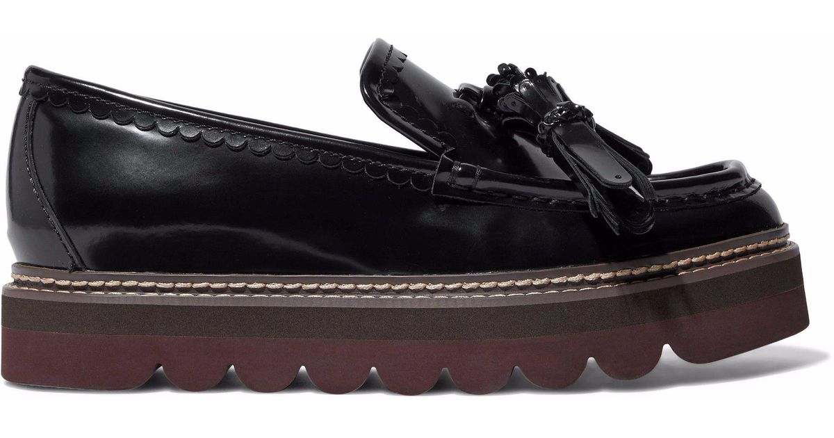 e7970a8b99e Lyst - See By Chloé Tasseled Glossed-leather Platform Loafers in Black