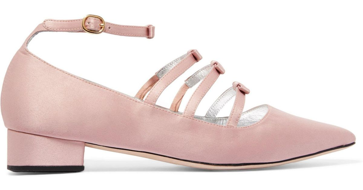 0ce7f7bb96b5 Lyst - ALEXACHUNG Woman Bow-embellished Satin Point-toe Flats Blush in Pink