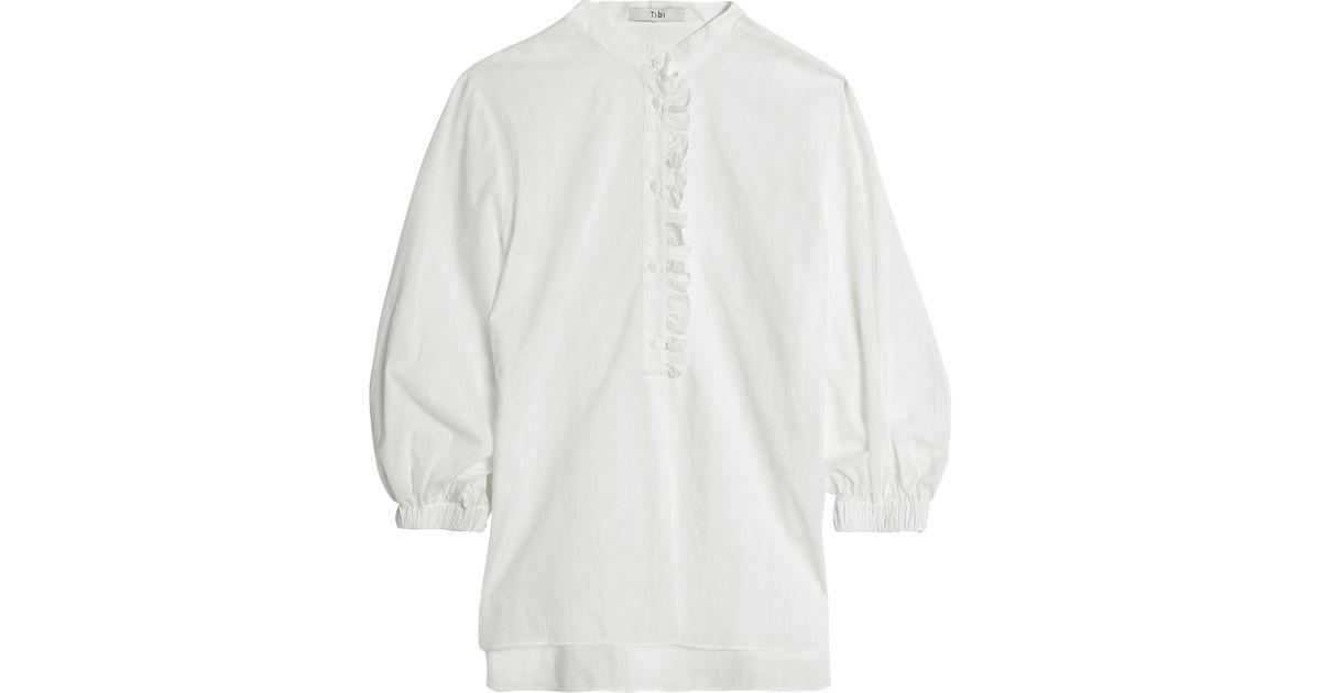 8213f5f0a2c3 Lyst - Tibi Ruffle-trimmed Pinstriped Cotton-poplin Blouse in White