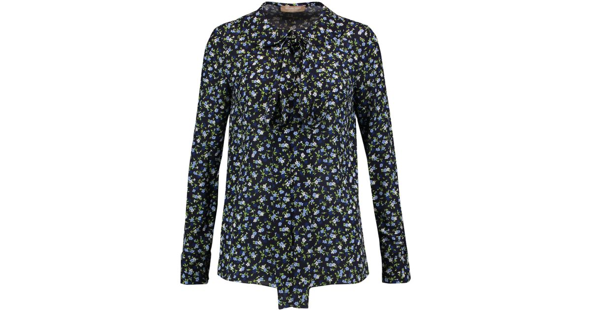 754fdd9fa18738 Michael Kors Pussy-bow Floral-print Silk-crepe Blouse Midnight Blue in Blue  - Lyst