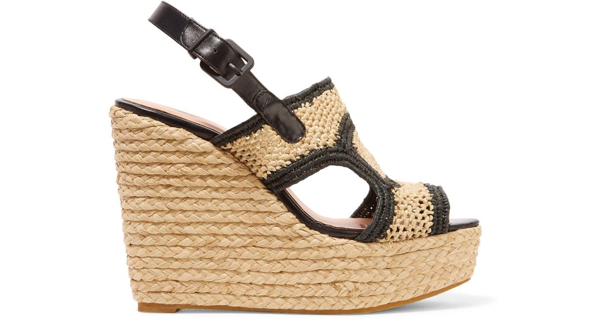 ab7f4181cb6 Lyst - Robert Clergerie Drastic Leather-trimmed Braided Raffia Slingback Wedge  Sandals in Natural