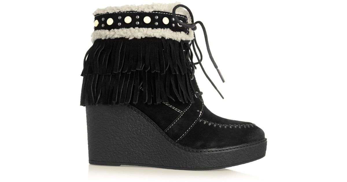 b15aac633b0a Lyst - Sam Edelman Kemper Faux Shearling-lined Fringed Suede Wedge Boots in  Black