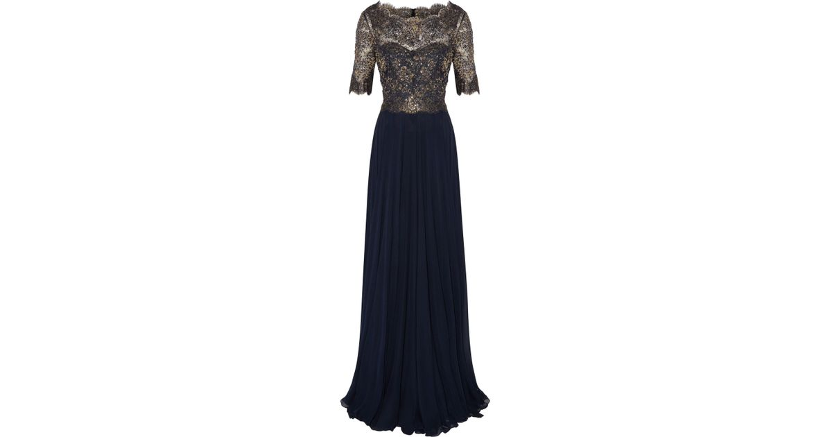fada07da06acd Reem Acra Sequined Metallic Lace-paneled Silk-georgette Gown Midnight Blue  in Blue - Lyst