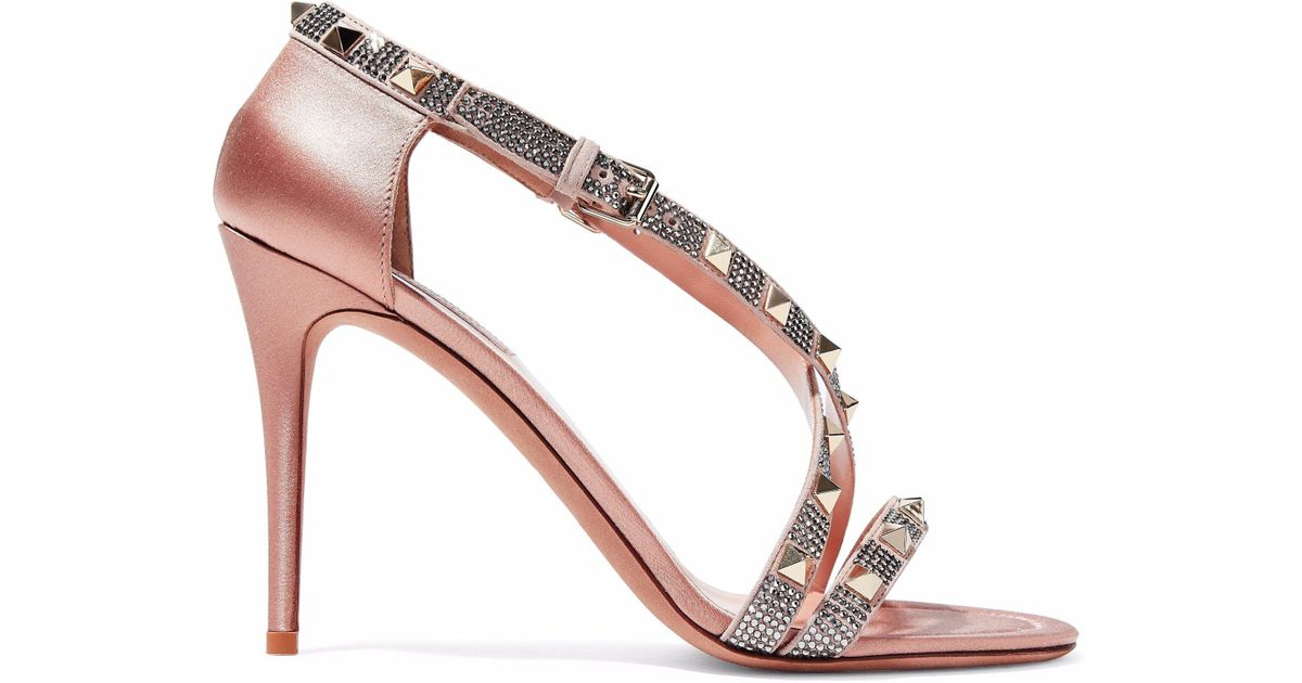 ad6e69c056a Lyst - Valentino Rockstud Crystal-embellished Satin Sandals in Pink