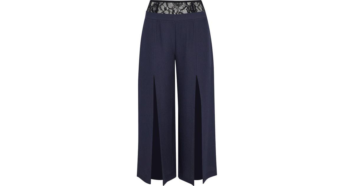 Fleur Du Mal Woman Cropped Lace-paneled Silk-crepe Wide-leg Pants Navy Size 2 Fleur du Mal Good Service m0fEuZhb