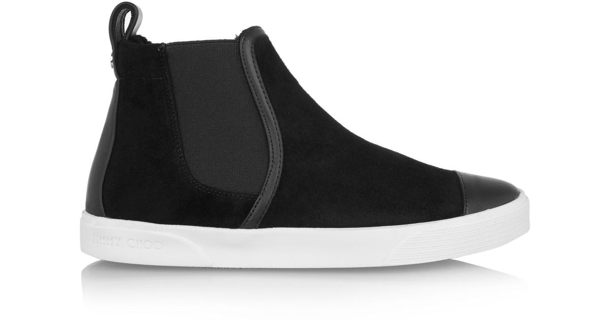 Lyst - Jimmy Choo Della Faux Shearling-lined Suede High-top Sneakers in  Black