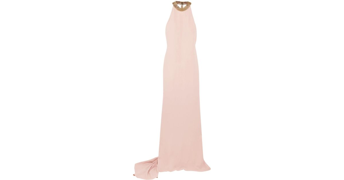 1e5c732f09a2 Lyst - Stella McCartney Woman Chain-embellished Stretch-crepe Halterneck  Gown Blush in Pink - Save 50%