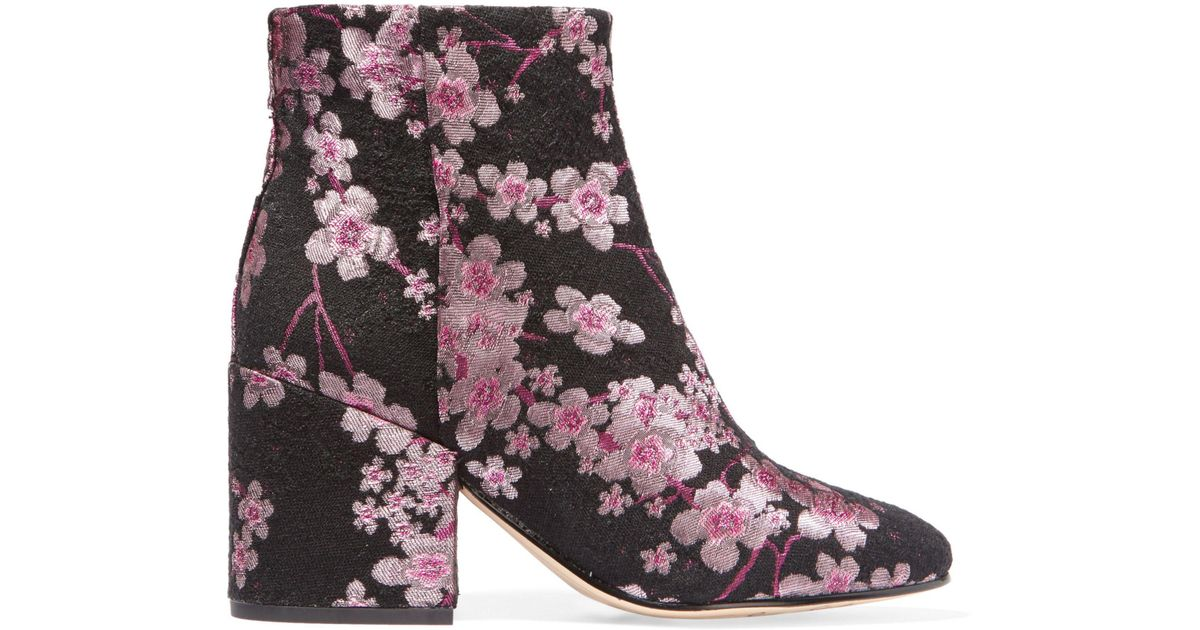 65f7f5d766ed Lyst - Sam Edelman Taye Floral-Brocade Ankle Boots in Pink