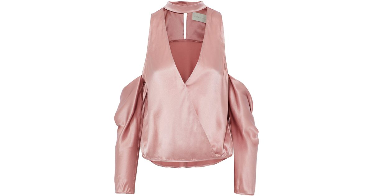 d8144f1b939e20 Lyst - Michelle Mason Cold-shoulder Wrap-effect Silk-charmeuse Top in Pink