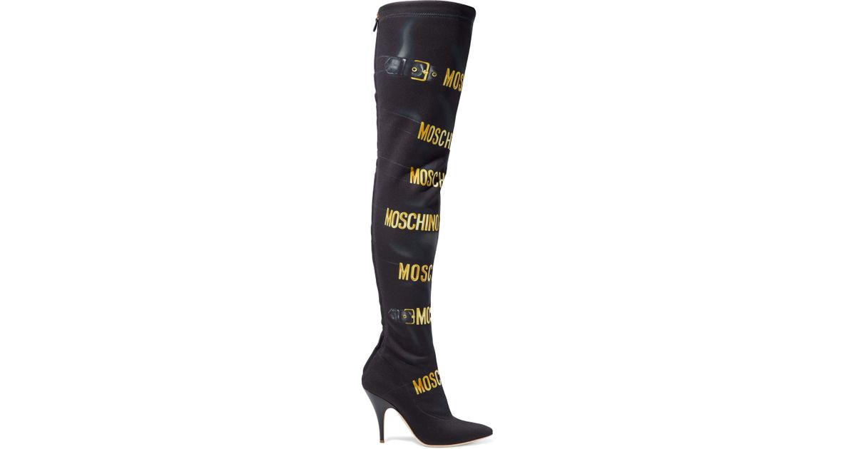 254bfe2c072 Lyst - Moschino Printed Stretch-neoprene Over-the-knee Boots in Black