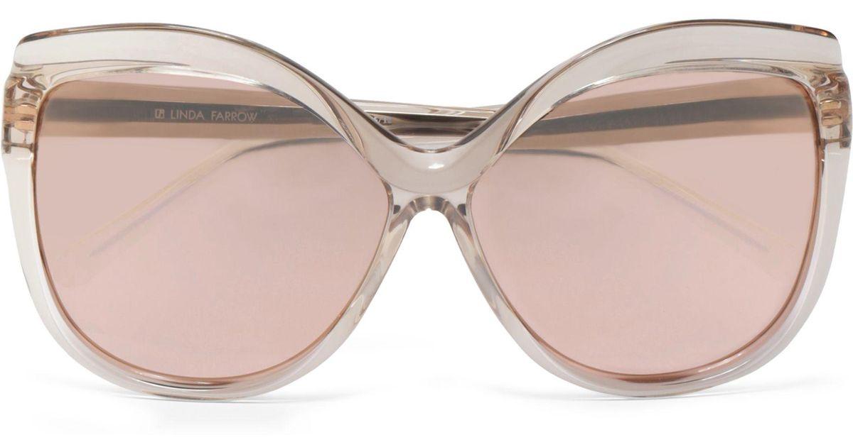 90f68ba19bb4a Lyst - Linda Farrow Woman Cat-eye Acetate Mirrored Sunglasses Rose Gold