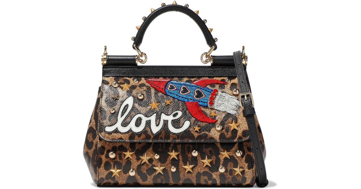 Lyst - Dolce   Gabbana Sicily Mini Embellished Leopard-print Textured-leather  Shoulder Bag 941934b8fc8fc