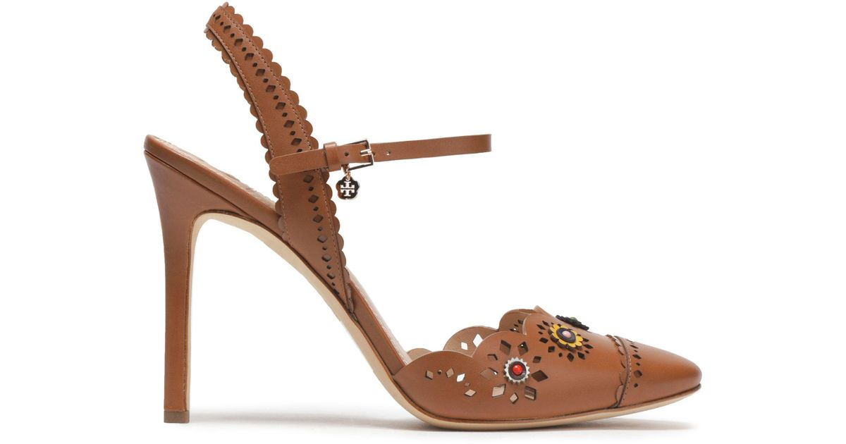 4645aab48c8 Tory Burch Floral-appliqué Scalloped Leather Sandals in Brown - Lyst