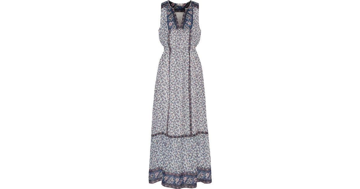 a432ceec1b Joie Atisha Printed Silk Crepe De Chine Maxi Dress in White - Lyst