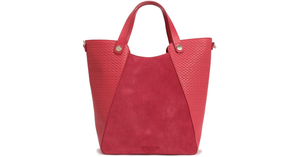 b405fb5cfb2c Halston Heritage Leather-paneled Suede Tote in Red - Lyst