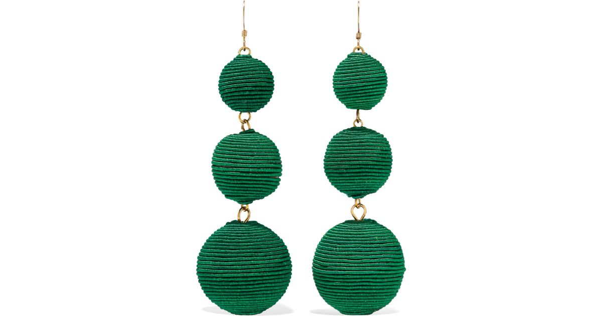 Kenneth Jay Lane Kenneth Jay Lane Woman Gold-tone Cord Earrings Forest Green Size gwiBfvZpsH
