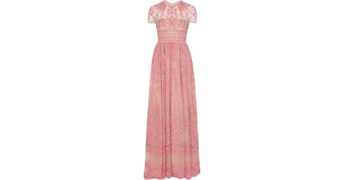 34ae4c4e857ea Valentino Bead-embellished Embroidered Tulle Gown Pink in Pink - Lyst