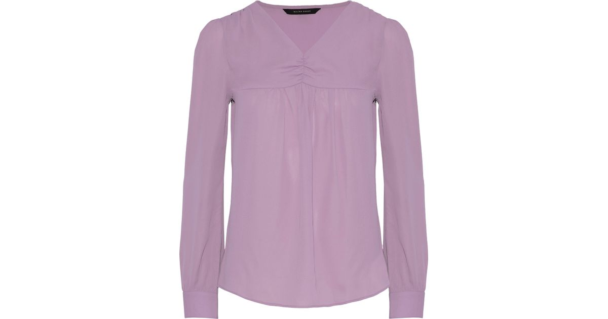 e9fc8ff32b150f Lyst - W118 by Walter Baker Woman Temela Gathered Crepe De Chine Blouse  Lavender in Purple