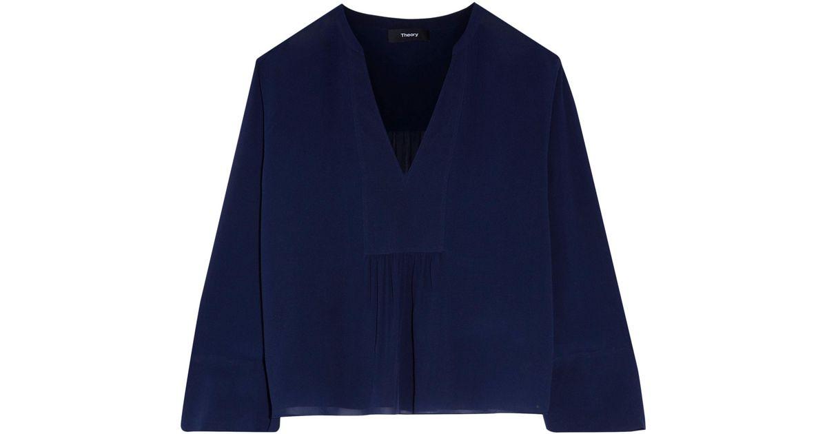 b2b4202a5f139 Theory Woman Matara Gathered Silk-georgette Blouse Midnight Blue in Blue -  Lyst