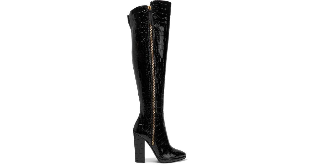 c5ea01751b9da Giuseppe Zanotti Croc-effect Patent-leather Over-the-knee Boots in Black -  Lyst