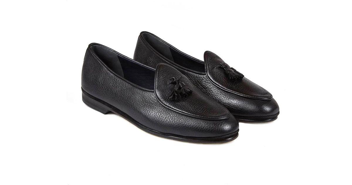 Black Marphy Deerskin Leather Tassel Loafers Rubinacci vsdIbdFN
