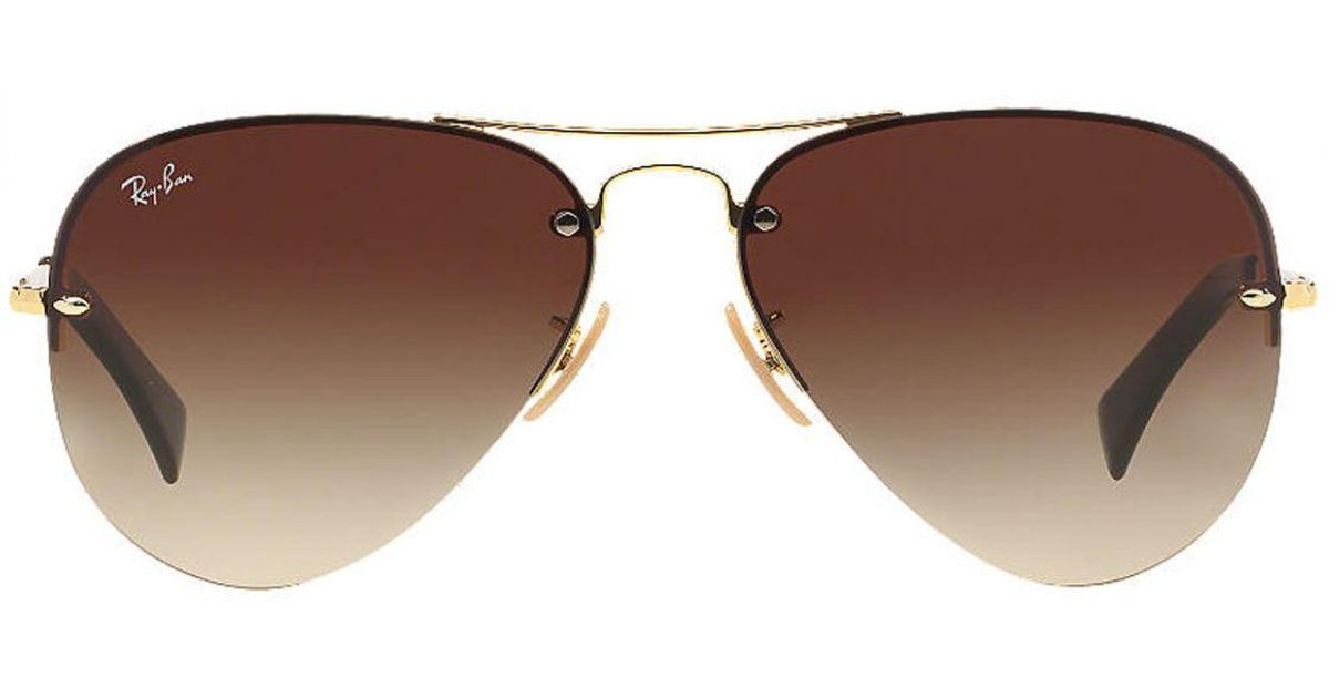 53769a9af4 Ray-Ban Aviator Shooter Rb3449 001 13 Gold Frames With Gradient Brown Lenses  Sunglasses in Metallic for Men - Lyst