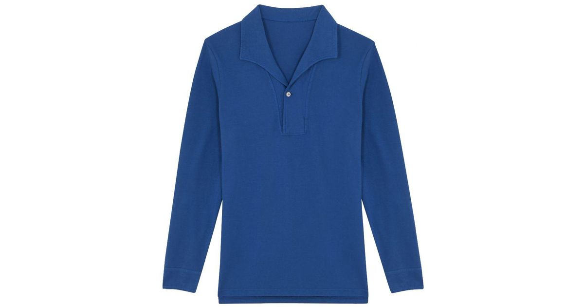 f0831ebe9 Belsire Blue Cotton Long-sleeved Polo Shirt in Blue for Men - Lyst