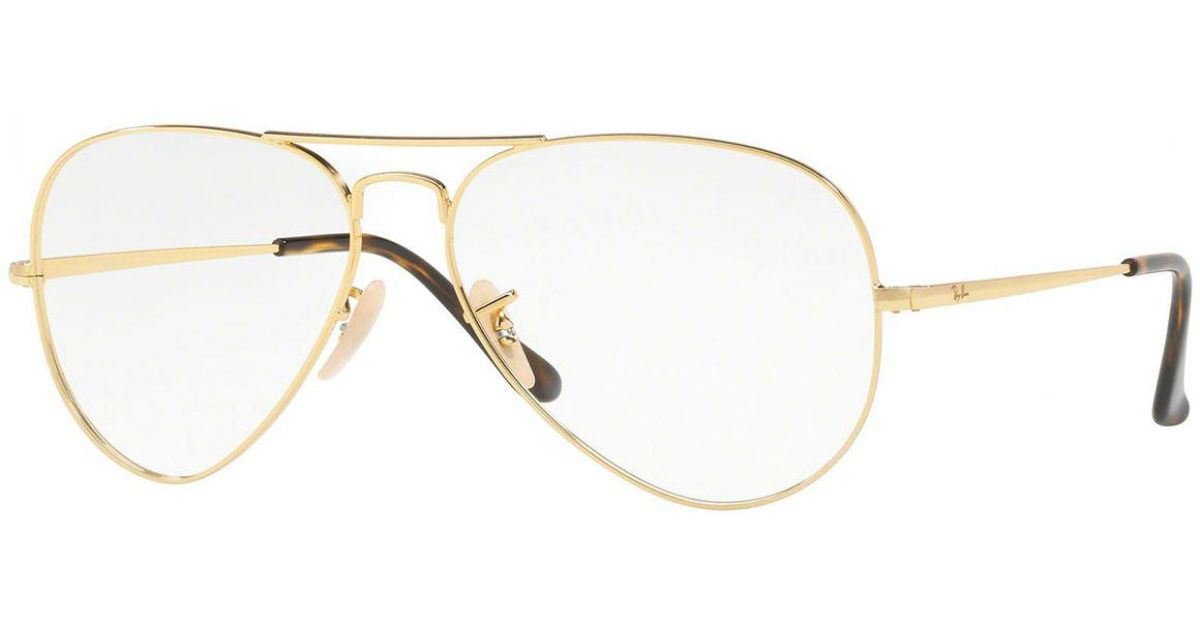 64f6e3c576 Ray-Ban Aviator Rx6489-2500 Gold Frames With Clear Lenses Eyewear in  Metallic for