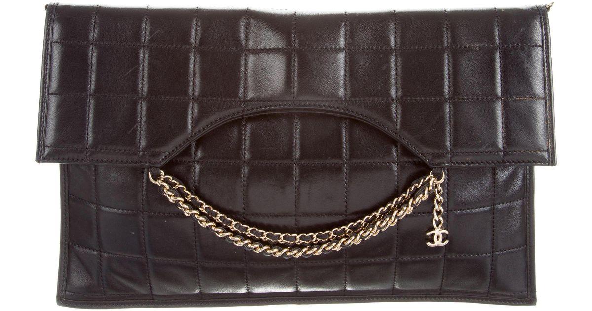 38e9e778a0b9 Lyst - Chanel Chocolate Bar Chain Clutch Black in Metallic
