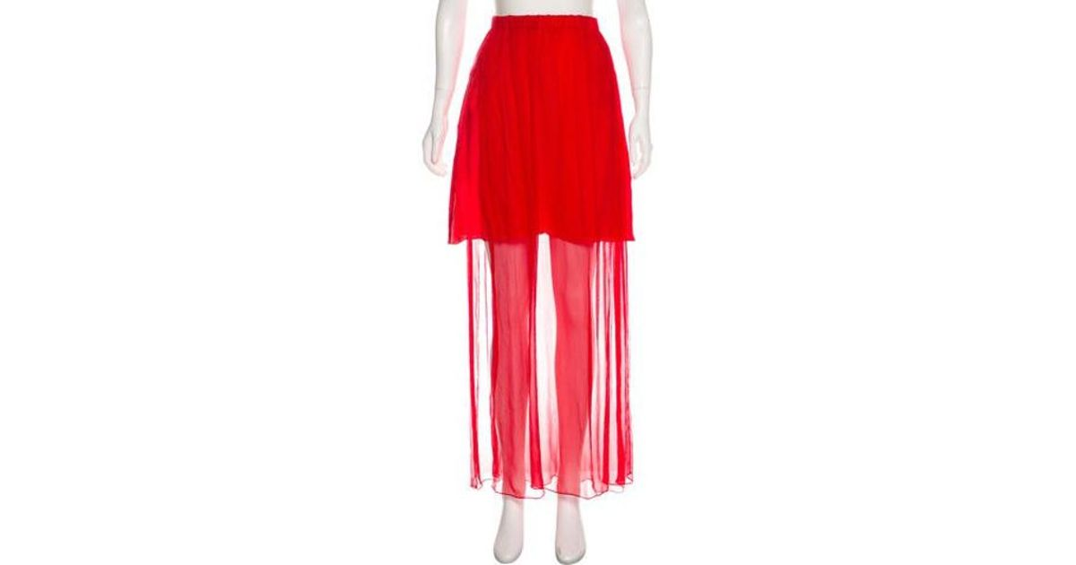 84914940e Lyst - Alexis Mabille Sheer Maxi Skirt in Red