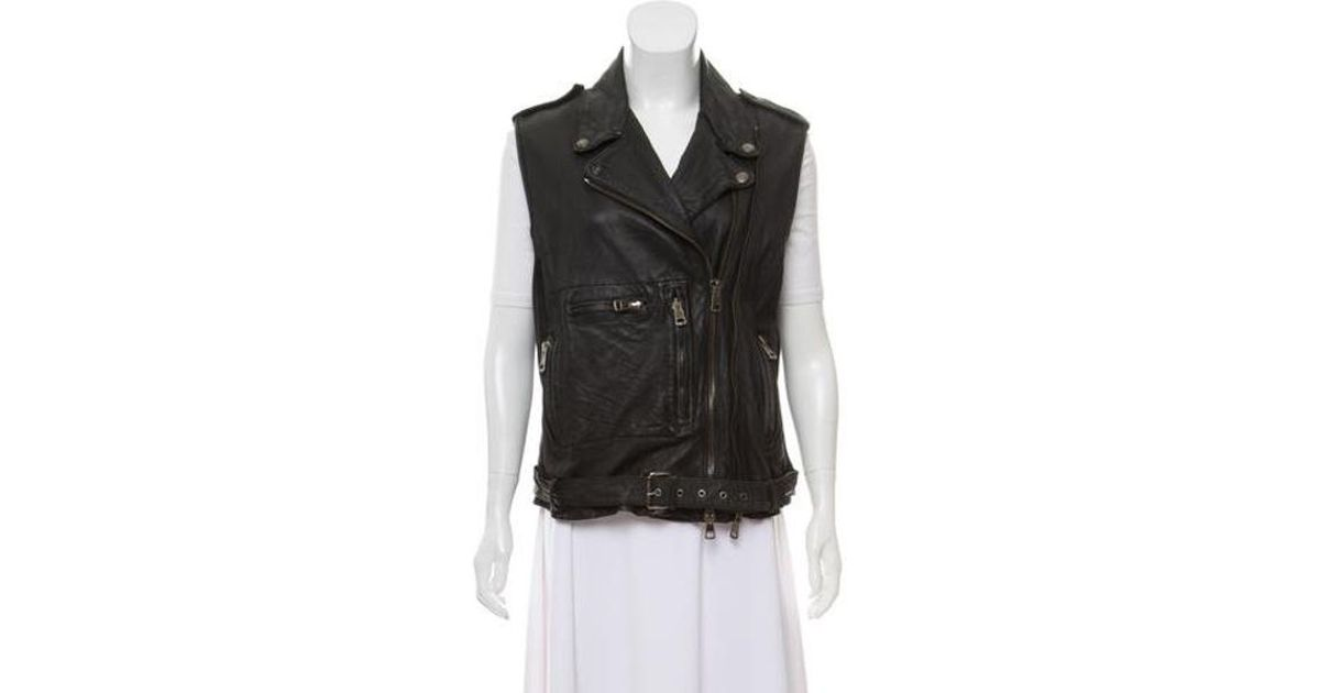 0fbc71a9b459 R13 - Black Notch-lapel Leather Vest - Lyst