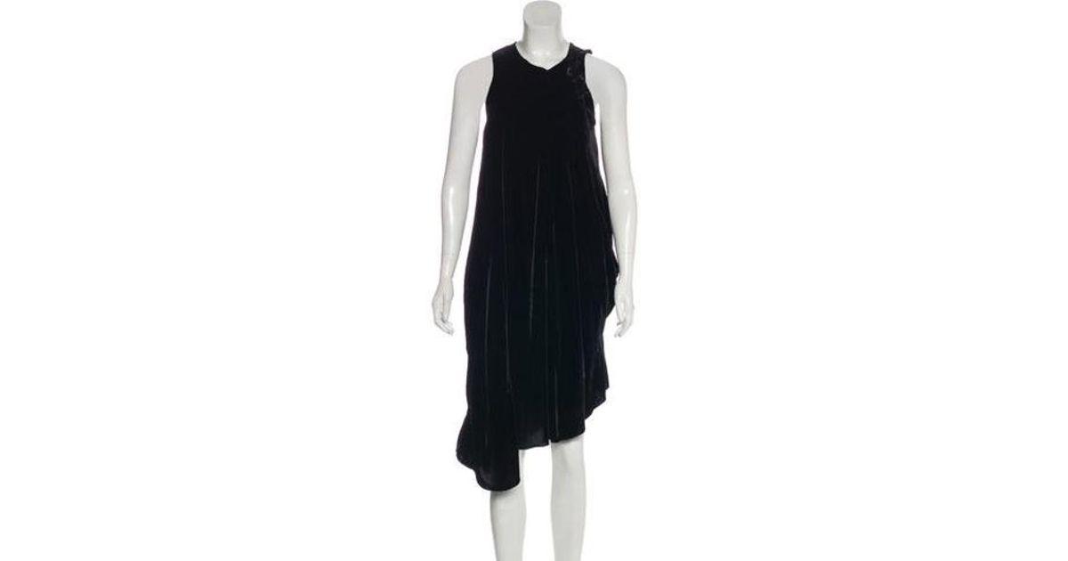 5f1d6692 Lyst - Hache Velvet Sleeveless Midi Dress in Black