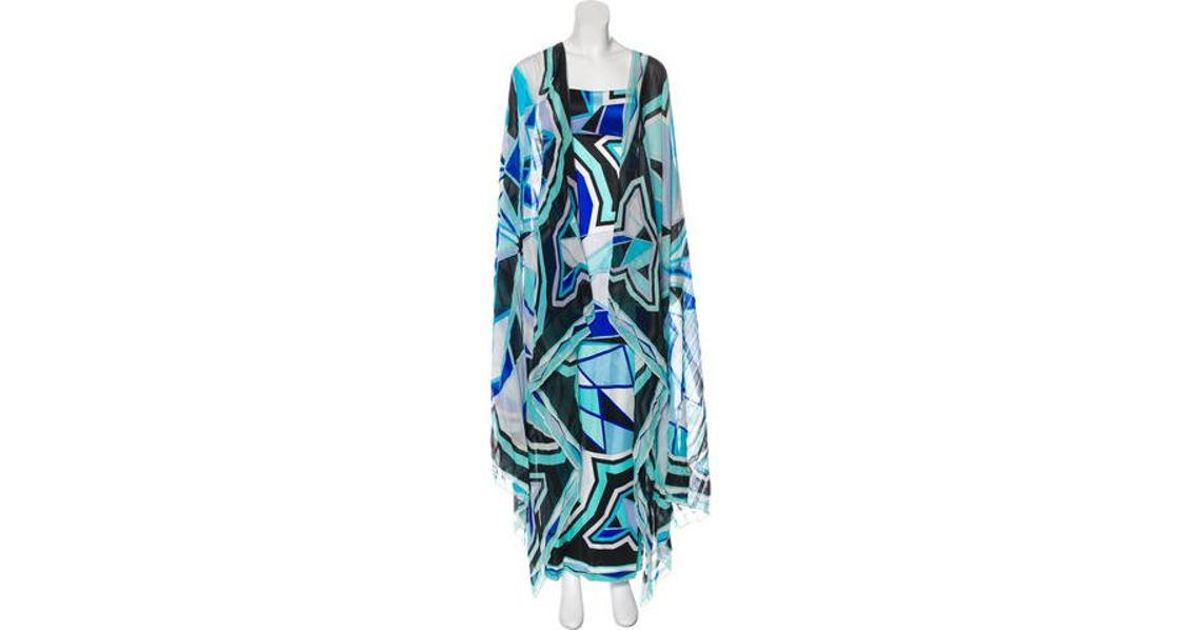 13fb68b4736c5 Lyst - Emilio Pucci Strapless Maxi Dress Turquoise in Blue
