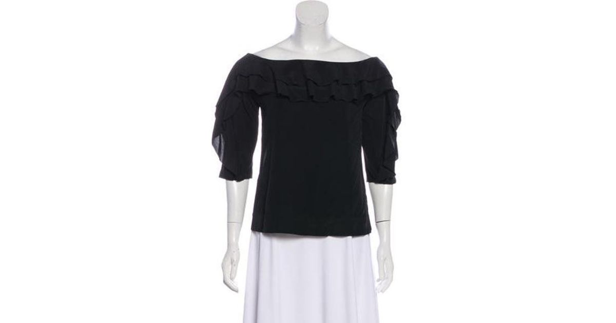 Lyst L Agence Silk Blend Over The Shoulder Blouse In Black