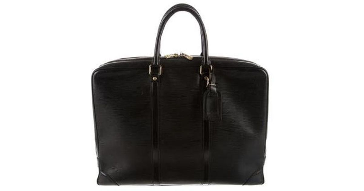cac1303716ab Lyst - Louis Vuitton Epi Porte Documents Voyage in Black for Men