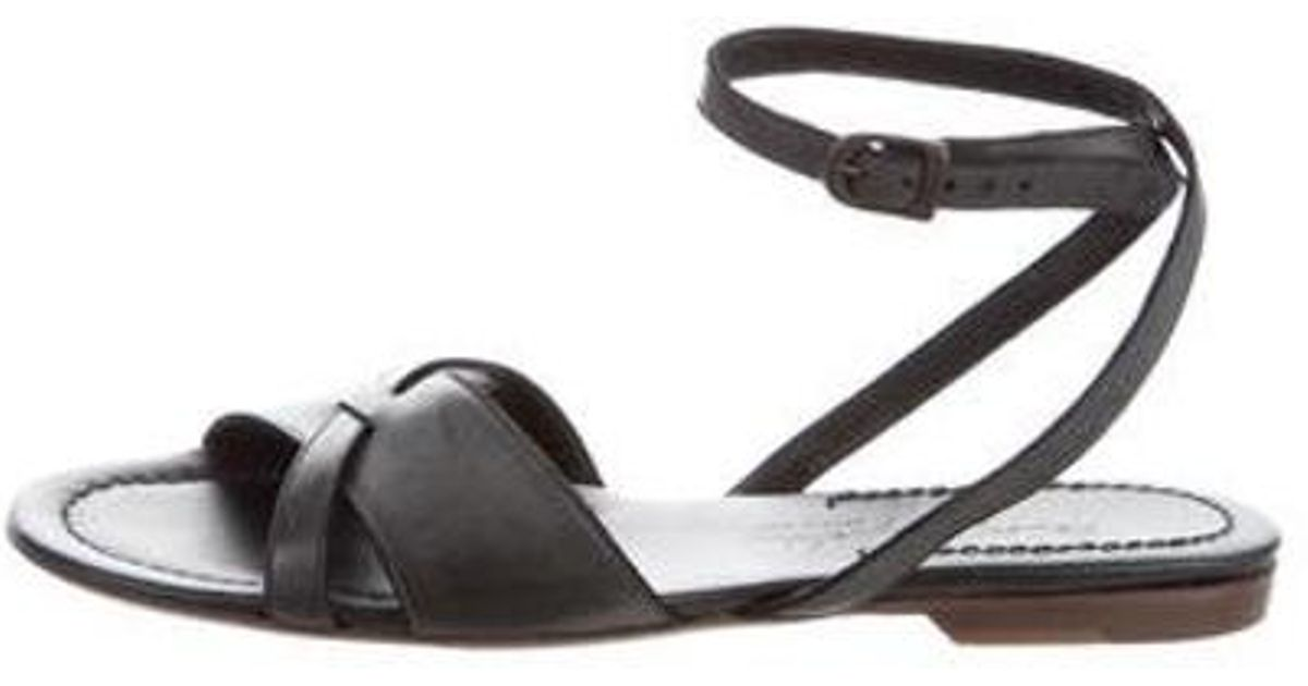 ed3b0537a4f5 Lyst - Henry Beguelin Leather Ankle Strap Sandals W  Tags in Black