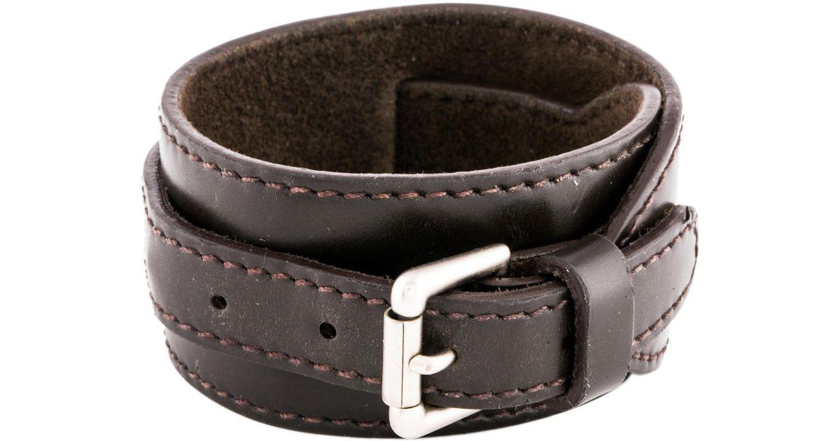Lyst Louis Vuitton Leather Wrap Bracelet Brown In Metallic