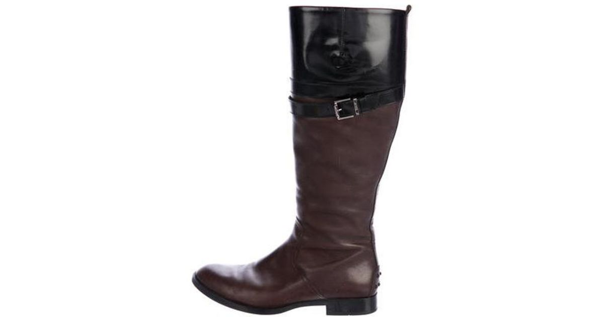 4d703b546fc Lyst - Tod S Leather Knee-high Boots in Brown