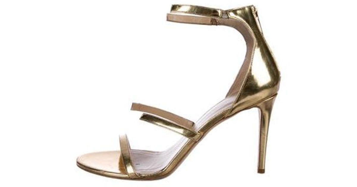 9e0492cb123 Lyst - Tamara Mellon Leather Ankle-strap Sandals Gold in Metallic