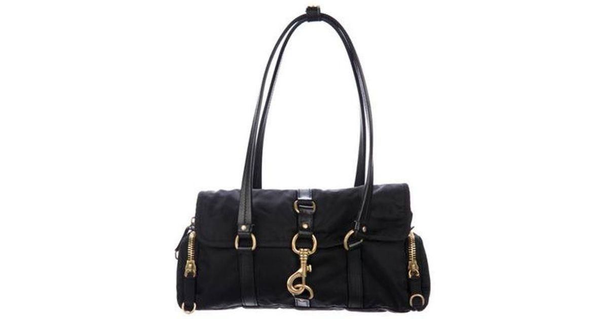 a36f00cb245e Lyst - Miu Miu Miu Leather-trimmed Nylon Shoulder Bag Black in Metallic