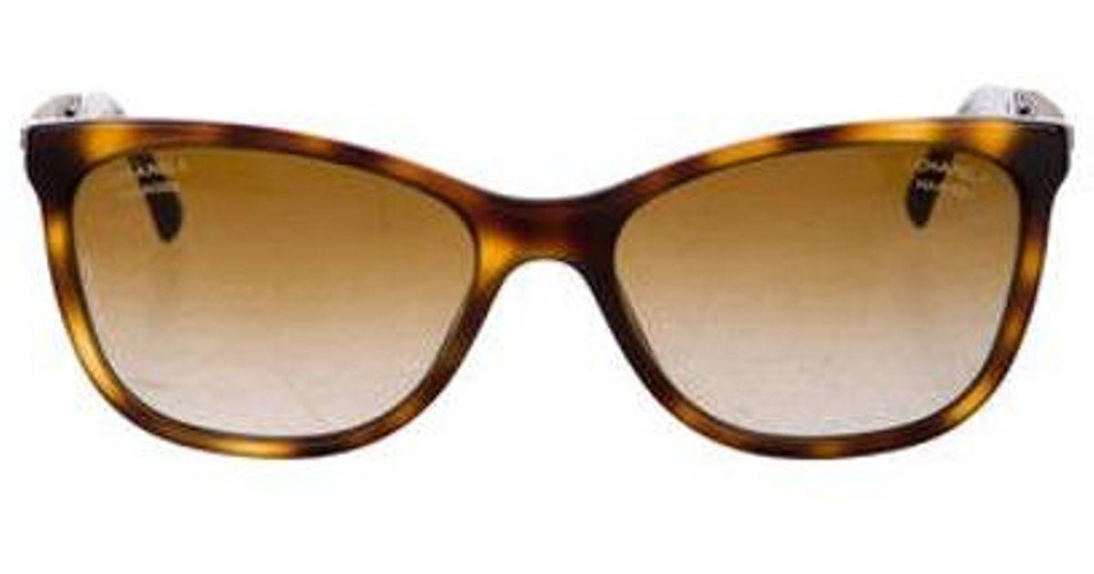 9d6b0b2e03 Lyst - Chanel Embellished Cat-eye Sunglasses in Brown