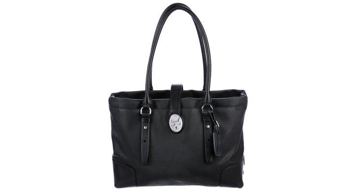 33580d806c Lyst - Tumi Leather-trimmed Tote Bag Black in Metallic