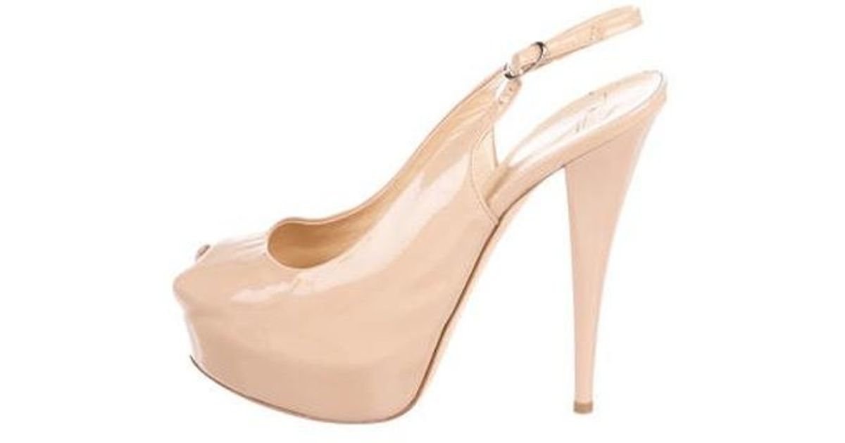 78ac210650c Lyst - Giuseppe Zanotti Patent Leather Peep-toe Pumps Nude in Natural
