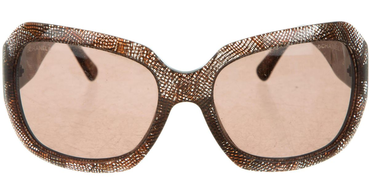 5951783a771 Lyst - Chanel Cc Square Sunglasses in Brown