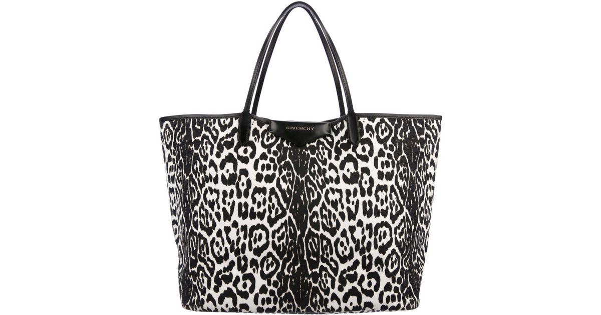 Lyst - Givenchy Leopard Print Antigona Tote Black in Metallic 56034fbfbf2c1