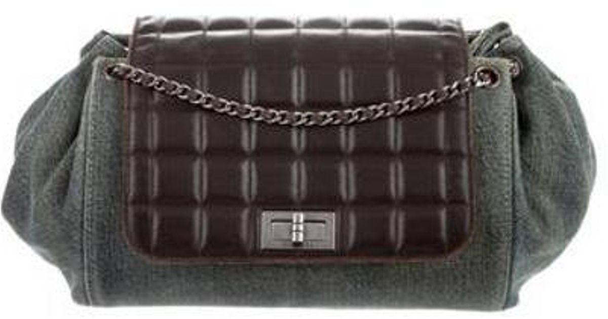 818de47842 Lyst - Chanel Denim Chocolate Bar Accordion Flap Bag Blue in Metallic