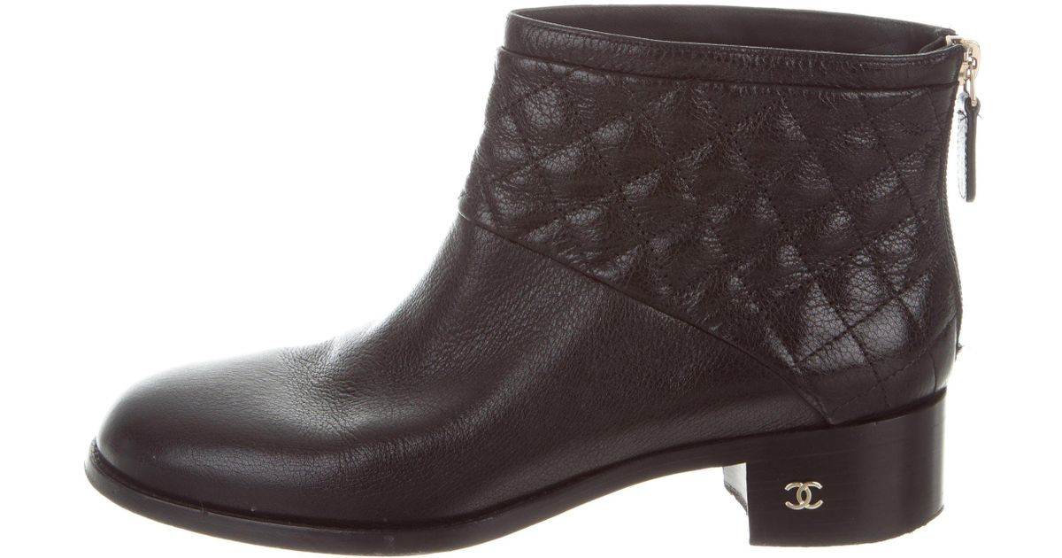 Lyst Chanel Quilted Ankle Boots Black In Metallic