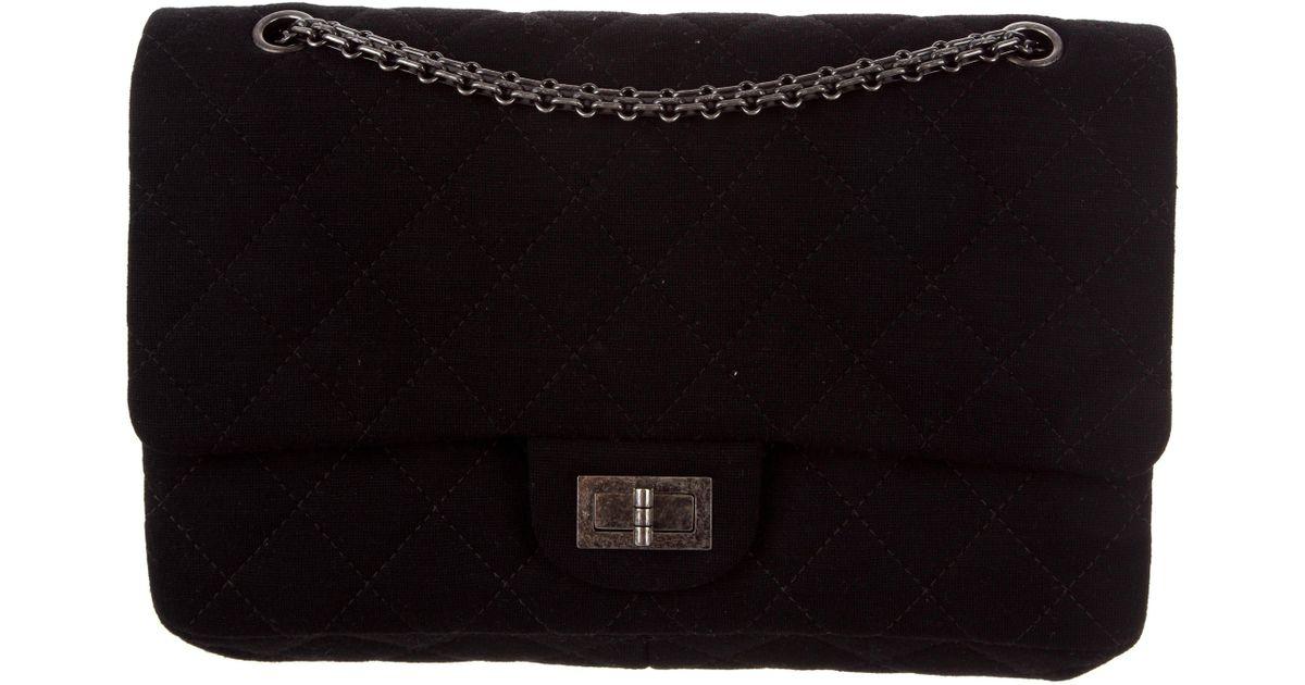 fdb23ec6bdd5 Lyst - Chanel Jersey Reissue 227 Double Flap Bag Black in Metallic