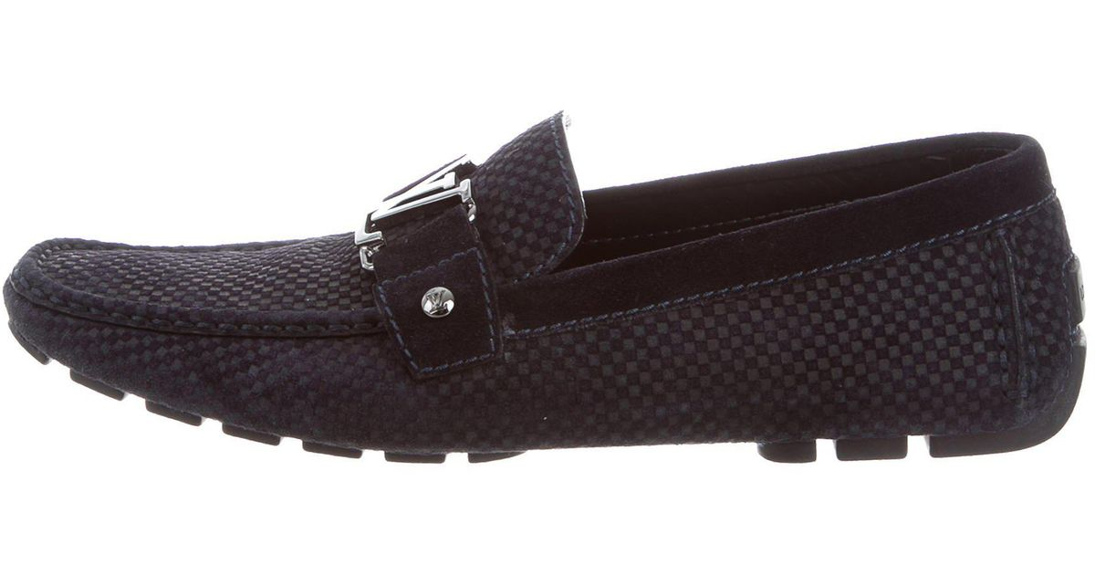 fb51f1d7c6b7 Lyst - Louis Vuitton Initiales Suede Loafers in Blue for Men