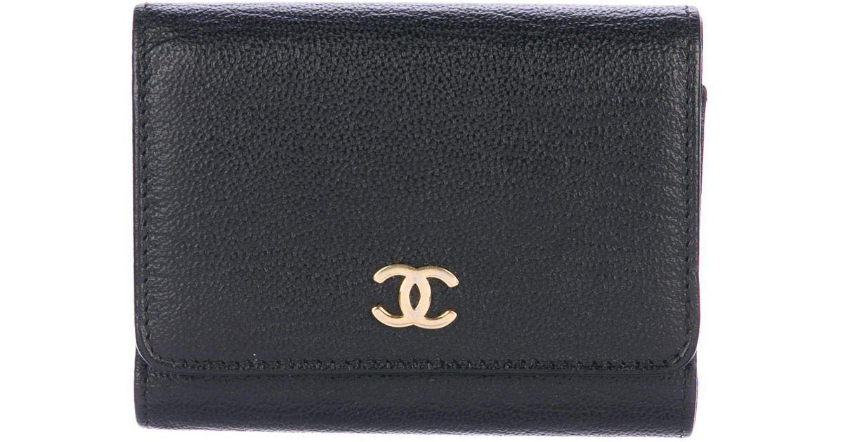 Lyst - Chanel Cc Business Card Holder Black in Metallic